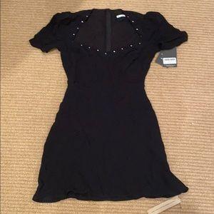Reformation balck jeweled puff sleeve dress
